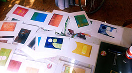 full table, printing,printmaking, monoprint, mark making, open acrylics, gelliprint, gelli art