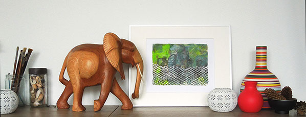 Elephant, art, green, wooden elephant, framed art